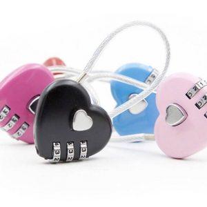 กุญแจล็อคกระเป๋า ตั้งรหัสได้ รูปห้วใจ