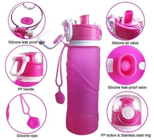 กระบอกน้ำซิลิโคนพับได้ Foldable Silicone Bottle