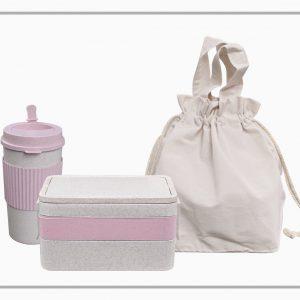 ชุดกล่องข้าวและกระบอกน้ำพร้อมถุงผ้าดิบ