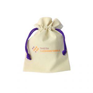 ถุงผ้าหูรูด ใบเล็ก ขนาด 15.5 x 23 cm พรีเมี่ยม สกรีนโลโก้