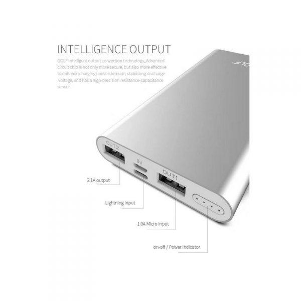 แบตเตอรี่สำรอง สกรีนโลโก้ Power Bank GOLF 10,000mAh Ultra Slim