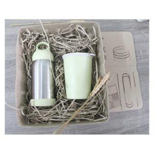 ชุดกระบอกน้ำสแตนเลส แก้วทำจากฟางข้าวสาลี