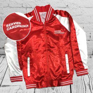 เสื้อแจ็คเก็ต Jacket สีแดงขาว ปักโลโก้ สกรีนโลโก้ เสื้อวอร์ม เสื้อวิ่ง Jacket
