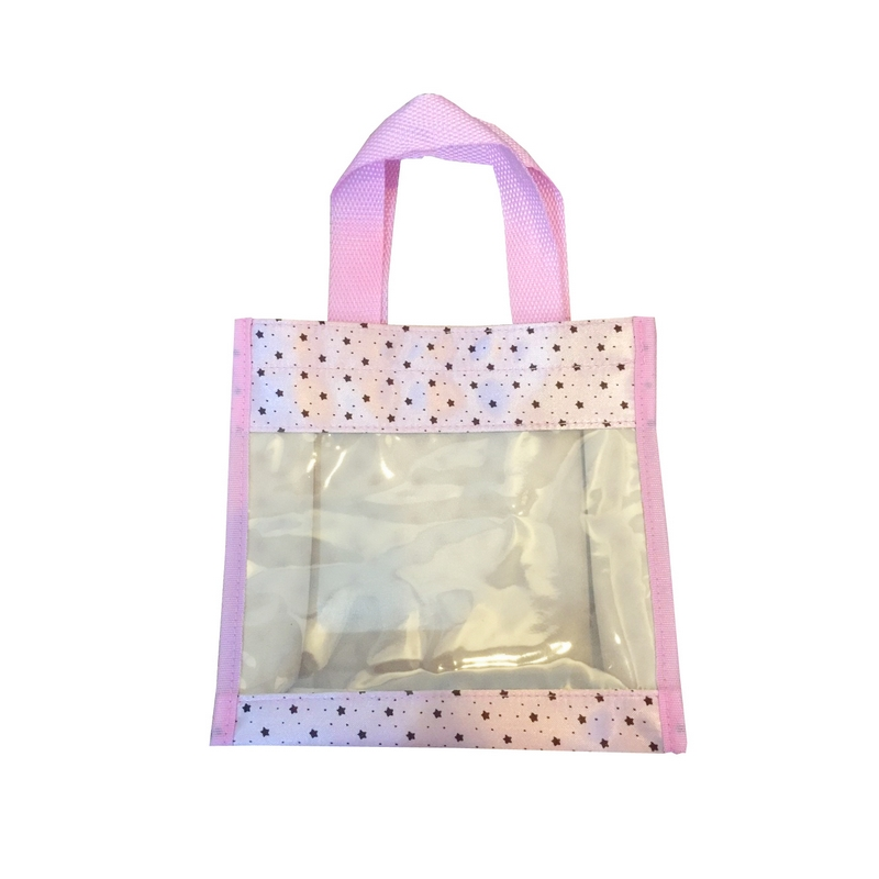 กระเป๋า PVC มีหูหิ้ว สีชมพู พรีเมี่ยม สกรีนโลโก้