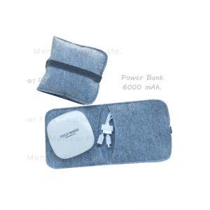 Power Bank 6000mAh พร้อมกระเป๋า พรีเมี่ยม สกรีนโลโก้