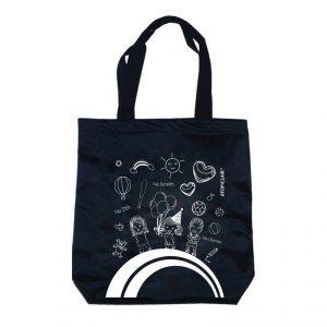 กระเป๋าผ้าสีดำ พิมพ์ลาย กระเป๋าพรีเมี่ยม สกรีนโลโก้