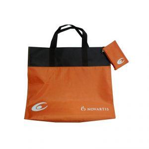 กระเป๋าพับได้ สีส้ม พรีเมี่ยม สกรีนโลโก้