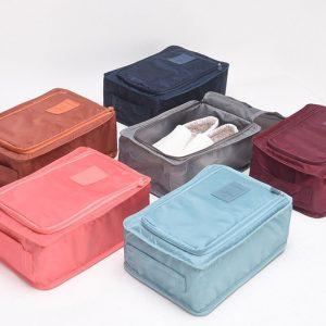 กระเป๋าผ้าใส่รองเท้าสีพื้น แบบทึบ พรีเมี่ยม สกรีนโลโก้