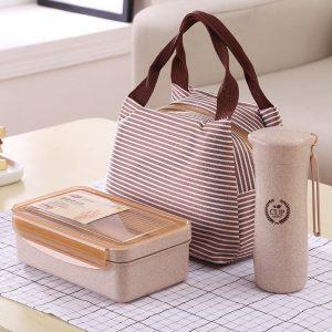 ชุดกล่องข้าว ช้อนส้อม กระบอกน้ำ รักษ์โลก ECO ทำจากฟางข้าวสาลี ECO Wheat Straw Lunch Box & Bottle Set