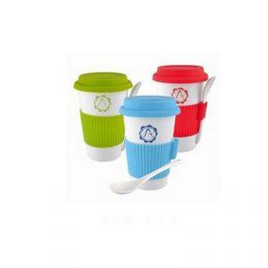 สกรีนโลโก้แก้วเซรามิค พร้อมช้อนกาแฟ Ceramic Mug พรีเมี่ยม