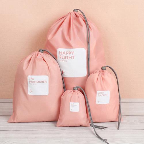 กระเป๋าหูรูด ผ้าร่ม พรีเมี่ยม สกรีนโลโก้ Happy Flight