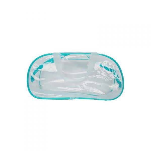 กระเป๋า PVC ทรงเตี้ย สะพายข้าง สีฟ้า