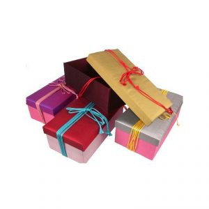 สั่งทำ กล่องผ้าไหม Thai Silk Box พร้อมสายคาด ปัก สกรีนโลโก้บนกล่องใส่ผ้าไหม