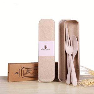ชุดช้อนส้อม ตะเกียบ ทำจากฟางข้าวสาลี ECO Wheat Fork and Spoon Set พรีเมี่ยม สกรีนโลโก้