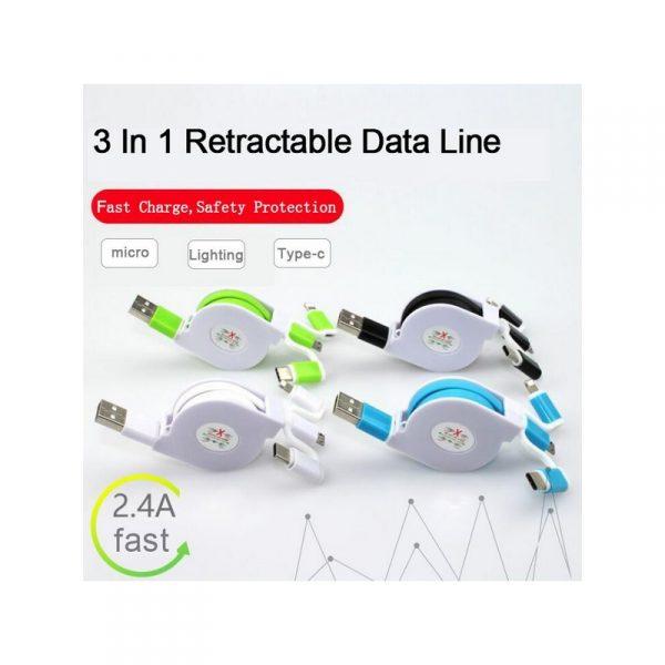 สายชาร์จ 3 หัว 3 in 1 Retractable Line Data Cable พรีเมี่ยม สกรีนโลโก้
