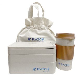 ชุดกล่องข้าวรักษ์โลก ECO Wheat Lunch Box Set ทำจากฟางข้าวสาลี พรีเมี่ยม สกรีนโลโก้