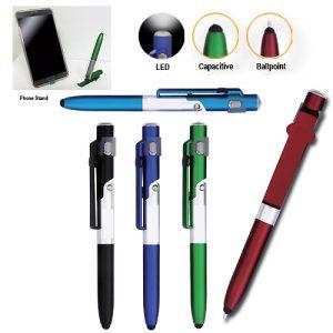 ปากกา ไฟฉาย ที่วางโทรศัพท์ ปากกาทัชสกรีน 4 in 1 Ballpoint Pen LED Phone Stand Stylus