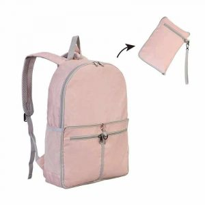 กระเป๋าเป้พับได้ Backpacks สีชมพู พรีเมี่ยม สกรีนโลโก้