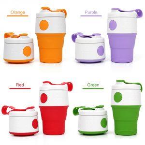 แก้วพับได้ Foldable Coffee Cup 13.50oz/395ml แก้วซิลิโคนพับได้ดีไซน์พร้อมหูหิ้ว พรีเมี่ยม สกรีนโลโก้