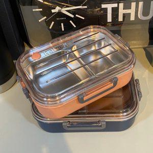 กล่องข้าวสแตนเลส แบ่งช่อง ถาดหลุม เบนโตะ Lunch Box