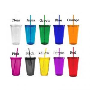 แก้วพลาสติก สองชั้น ฝาเรียบ พร้อมหลอด มี 10 สีให้เลือก พรีเมี่ยม สกรีนโลโก้