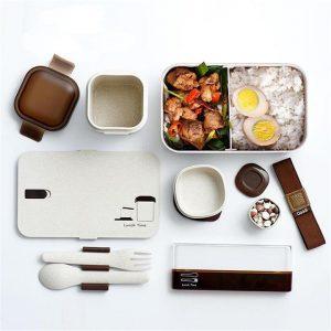 ชุด Eco Giftset กล่องอาหารรักษ์โลก ทำจากฟางข้าวสาลี กล่องข้าว + กล่องซุป + ชุดช้อนส้อม + กล่องน้ำจิ้ม 2 กล่อง + กระเป๋าหูรูด ECO Wheat   Made to Order