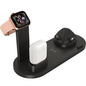 Wireless Charger Stand 4 in 1 Multi-Function ดีไซน์หรูหราสวยงาม พรีเมี่ยม สกรีนโลโก้