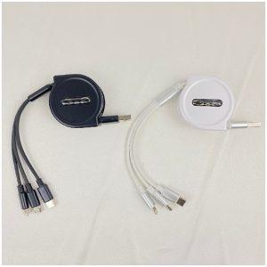 สาย Charge 3 หัว 3 IN 1 Data Cable สกรีนโลโก้ สายชาร์ท 3 หัว สำหรับ iPhone + Android + Type C สายชาร์จพรีเมี่ยม