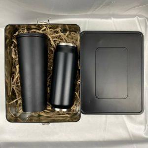 GiftSet ของแจกปีใหม่ แก้ว กระบอกน้ำสแตนเลส สีดำด้าน