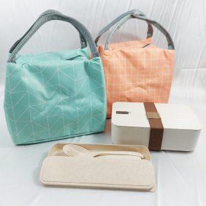 Zero Waste ECO Wheat Gift Set รักษ์โลก กล่องอาหาร ช้อนส้อม ฟางข้าวสาลี พร้อมถุงผ้า